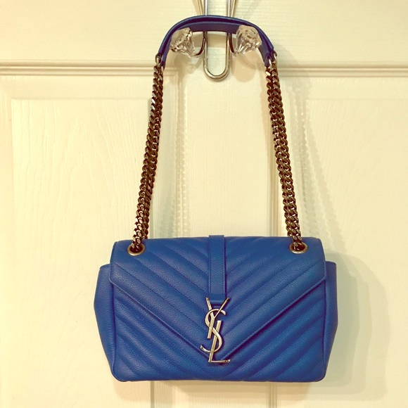 4d03755201d YVES SAINT LAURENT Blue Leather monogram crossbody.  M_5a6300163b1608127fd33e15